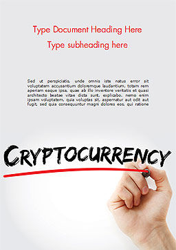 A Hand Writing Cryptocurrency with Marker Word Template, Cover Page, 15004, Business Concepts — PoweredTemplate.com