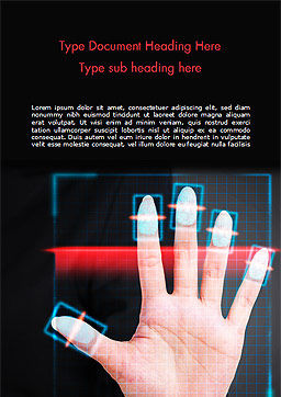 Fingerprint Scanning Word Template, Cover Page, 15008, Technology, Science & Computers — PoweredTemplate.com