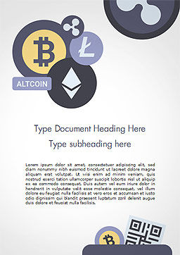 Cryptocurrency Coins Word Template, Cover Page, 15009, Technology, Science & Computers — PoweredTemplate.com