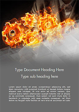 Man with Fire Gears Word Template, Cover Page, 15014, Business Concepts — PoweredTemplate.com