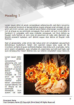 Man with Fire Gears Word Template, First Inner Page, 15014, Business Concepts — PoweredTemplate.com