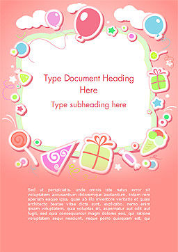 Cute Girl Birthday Background Word Template, Cover Page, 15016, Holiday/Special Occasion — PoweredTemplate.com