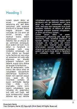 Hands Touching Tablet with Technology Icons Word Template, First Inner Page, 15019, Business Concepts — PoweredTemplate.com