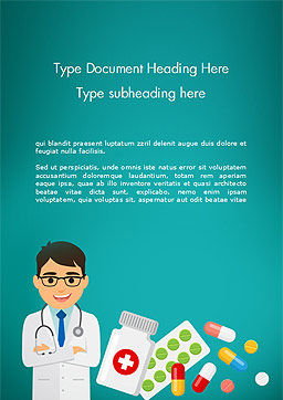 Doctor with Medicines Word Template, Cover Page, 15021, Medical — PoweredTemplate.com