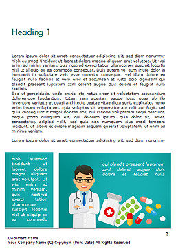 Doctor with Medicines Word Template, First Inner Page, 15021, Medical — PoweredTemplate.com