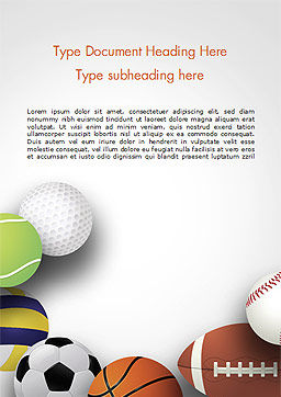 Different Sport Balls Word Template, Cover Page, 15023, Sports — PoweredTemplate.com