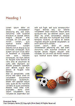 Different Sport Balls Word Template, First Inner Page, 15023, Sports — PoweredTemplate.com