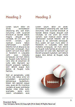Different Sport Balls Word Template, Second Inner Page, 15023, Sports — PoweredTemplate.com