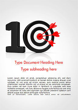 10 with Dartboard Word Template, Cover Page, 15025, Business Concepts — PoweredTemplate.com