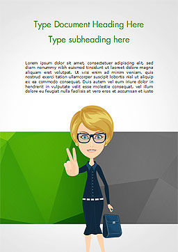 Businesswoman Showing Victory Sign Word Template, Cover Page, 15027, Business Concepts — PoweredTemplate.com