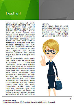 Businesswoman Showing Victory Sign Word Template, First Inner Page, 15027, Business Concepts — PoweredTemplate.com