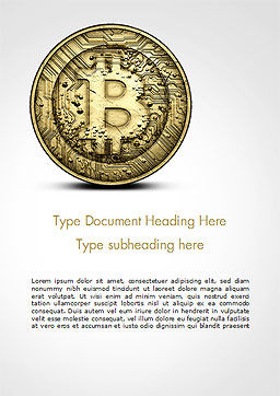 Gold Coin with Bitcoin Sign Word Template, Cover Page, 15029, Technology, Science & Computers — PoweredTemplate.com