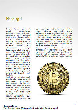 Gold Coin with Bitcoin Sign Word Template, First Inner Page, 15029, Technology, Science & Computers — PoweredTemplate.com