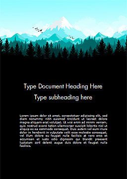 Mountain Forest Word Template, Cover Page, 15031, Nature & Environment — PoweredTemplate.com