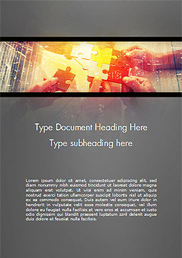 Hands Putting Puzzle Piece Together Word Template, Cover Page, 15033, Business Concepts — PoweredTemplate.com
