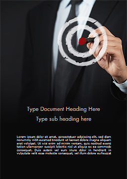 Businessman Pressing on Target Goal Word Template, Cover Page, 15034, Business Concepts — PoweredTemplate.com
