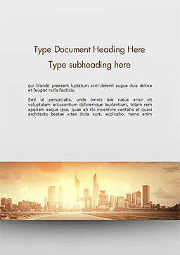 City Skyline Photo Word Template, Cover Page, 15035, Construction — PoweredTemplate.com