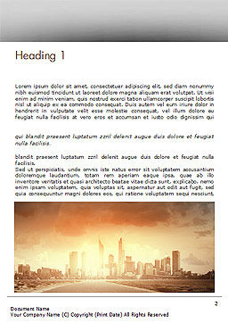 City Skyline Photo Word Template, First Inner Page, 15035, Construction — PoweredTemplate.com