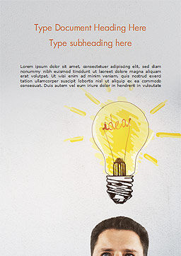 Man with Drawn Yellow Light Bulb Word Template, Cover Page, 15037, Business Concepts — PoweredTemplate.com