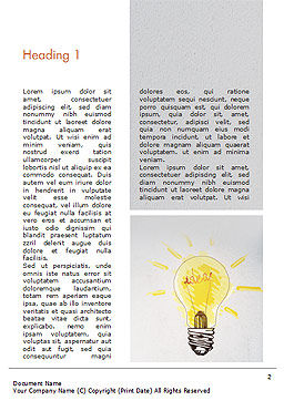 Man with Drawn Yellow Light Bulb Word Template, First Inner Page, 15037, Business Concepts — PoweredTemplate.com