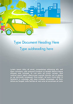 Eco Car Word Template, Cover Page, 15039, Cars/Transportation — PoweredTemplate.com