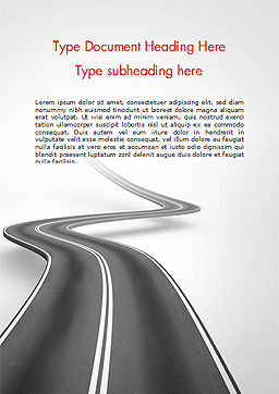 Uphill Winding Road Word Template, Cover Page, 15043, 3D — PoweredTemplate.com