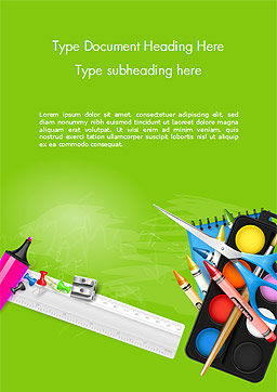 School Supplies on Green Background Word Template, Cover Page, 15044, Education & Training — PoweredTemplate.com