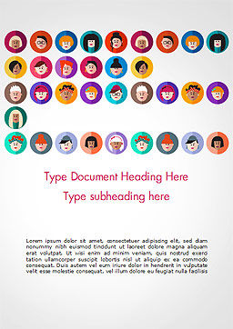 Avatar Icons in Flat Design Word Template, Cover Page, 15055, People — PoweredTemplate.com