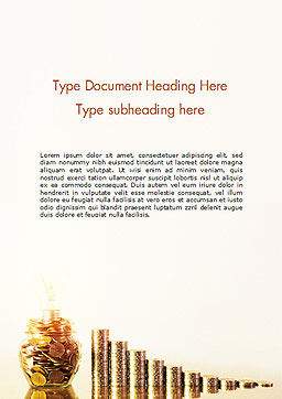 Golden Coins Stacks and Light Bulb Word Template, Cover Page, 15063, Financial/Accounting — PoweredTemplate.com