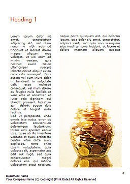 Golden Coins Stacks and Light Bulb Word Template, First Inner Page, 15063, Financial/Accounting — PoweredTemplate.com