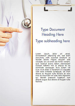 Doctor with Clipboard Word Template, Cover Page, 15077, Medical — PoweredTemplate.com