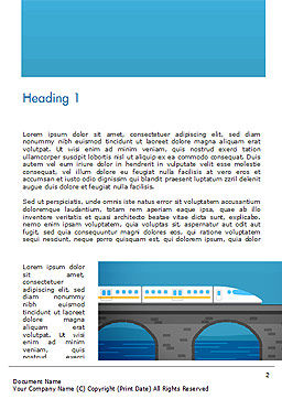High-Speed Train Illustration Word Template, First Inner Page, 15078, Cars/Transportation — PoweredTemplate.com