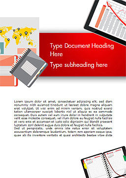 Top View of Working Place Elements Word Template, Cover Page, 15090, Business Concepts — PoweredTemplate.com