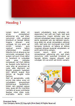 Top View of Working Place Elements Word Template, First Inner Page, 15090, Business Concepts — PoweredTemplate.com