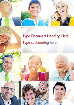 Multiethnic Diverse Cheerful People Word Template, Cover Page, 15094, People — PoweredTemplate.com