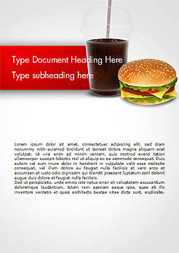 Fast Food Illustration Word Template, Cover Page, 15095, Food & Beverage — PoweredTemplate.com