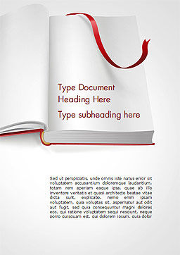 Open Book with Red Bookmark Word Template, Cover Page, 15097, Education & Training — PoweredTemplate.com