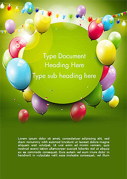 Colorful Balloons and Garlands Word Template, Cover Page, 15099, Holiday/Special Occasion — PoweredTemplate.com