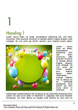 Colorful Balloons and Garlands Word Template, First Inner Page, 15099, Holiday/Special Occasion — PoweredTemplate.com