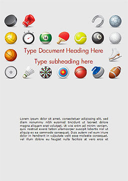 Sports Equipment Icons Word Template, Cover Page, 15100, Sports — PoweredTemplate.com