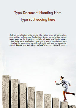 Business Woman Runs Up Word Template, Cover Page, 15102, Business Concepts — PoweredTemplate.com