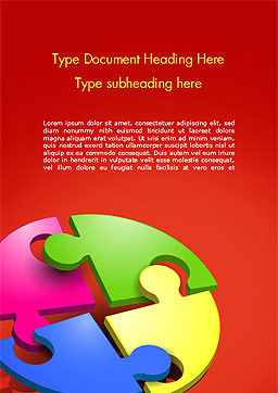 Four Part Puzzle Word Template, Cover Page, 15104, 3D — PoweredTemplate.com