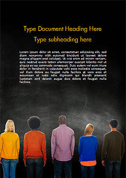 Peoples in Front of Large Blackboard Word Template, Cover Page, 15119, Education & Training — PoweredTemplate.com