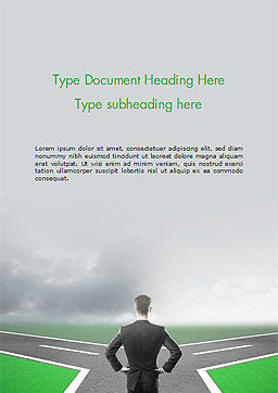 Businessman at Crossroads Word Template, Cover Page, 15122, Business Concepts — PoweredTemplate.com