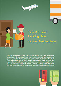 Delivery Service Illustration Word Template, Cover Page, 15123, Careers/Industry — PoweredTemplate.com