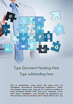 Man with Blue Business Puzzle Word Template, Cover Page, 15125, Business Concepts — PoweredTemplate.com