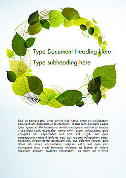 Green Leaves Circle Word Template, Cover Page, 15127, Nature & Environment — PoweredTemplate.com