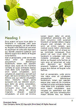 Green Leaves Circle Word Template, First Inner Page, 15127, Nature & Environment — PoweredTemplate.com