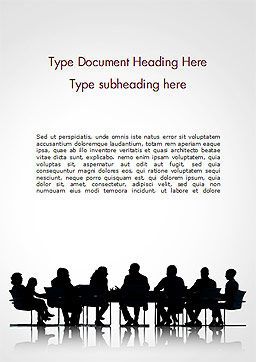 Business People Silhouettes Word Template, Cover Page, 15130, Business — PoweredTemplate.com