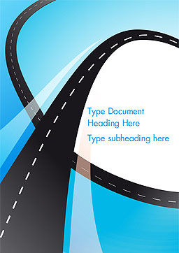 Uphill Winding Road on Blue Background Word Template, Cover Page, 15135, Business Concepts — PoweredTemplate.com